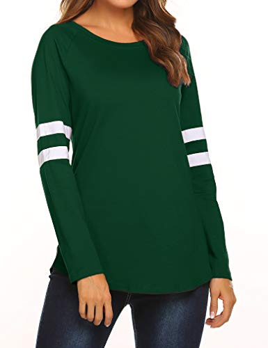 Long Crewneck Sleeve Raglan (Women's Crewneck Long Sleeve Baseball T-Shirt Long Striped Patchwork Tunic Tops (L, Green))