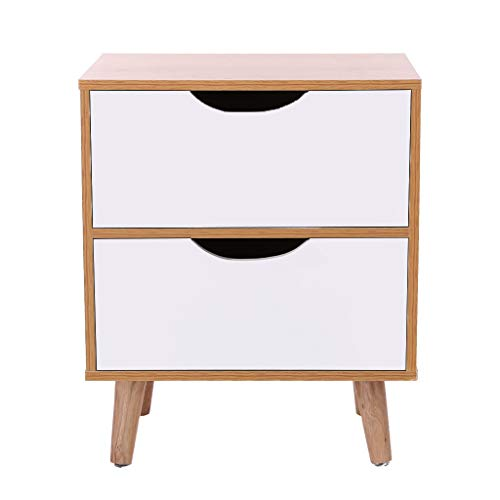 (Fiudx Bedside Table End Table Night Stand,Bedside Locker Double Drawer Nightstand)