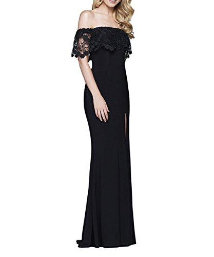 Shoulder High Dresses Evening Slit DKBridal Blue Off Long Lace Party IwOtAg
