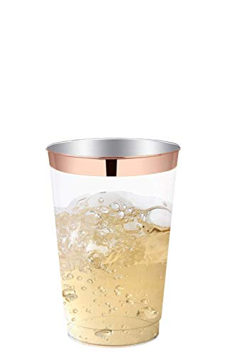 Rose Gold Party Cups | Large 10 Oz rose gold rim tumblers; 50 ct plastic cups; wedding cups; party cups; gold cups