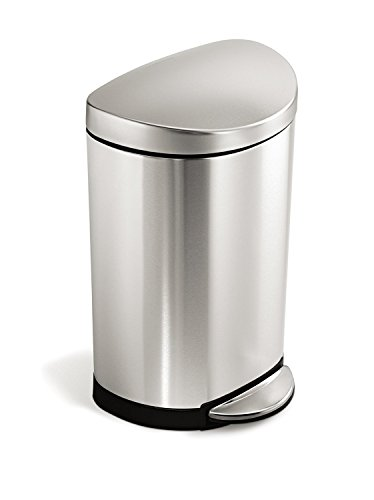 simplehuman 10 Liter / 2.3 Gallon Stainless Steel Small Semi-Round Bathroom Step Trash Can, Brushed Stainless Steel ()