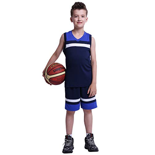 TERODACO Girls & Boys Youth 2-Piece Basketball Jerseys Performance Tank Top and Shorts Set for Trainning