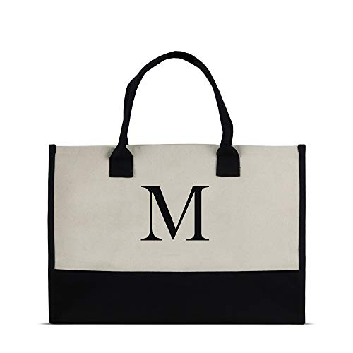 Monogram Tote Bag with 100% Cotton Canvas and a Chic Personalized Monogram (Black Block Letter - M)