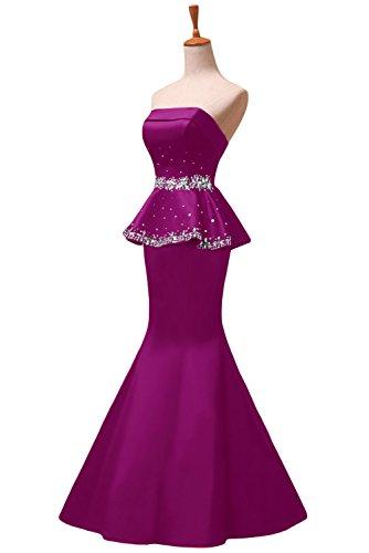 sera elegante da strass con sirena rosa cerimonia fucsia abiti con senza motivo Sunvary da o diamanti spalline TUwqdzqS