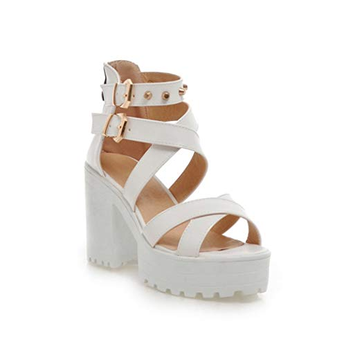 OTOSU Women's Chunky High Heel Platform Sandals Crisscross Strap Studded Open Toe Block Heel Gladiator Sandal White