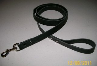 Punk Hollow Leather Dog Leash Dog Training Leash 6 ft X 1 in Black and Nickel