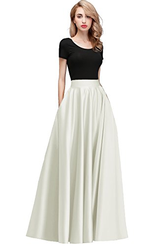 Honey Qiao Women's Satin Long Floor Length High Waist Prom Party Skirts (XL, Ivory)