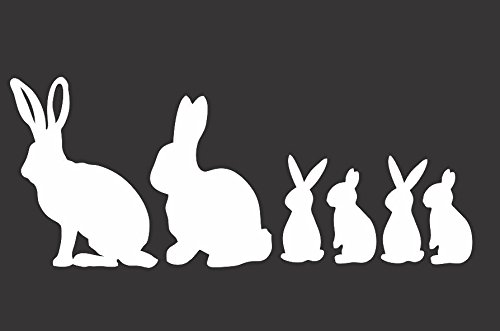 "Bunny Family- Die Cut Vinyl Window Decal/sticker for Car , Truck, Laptop 3.5""x8"""