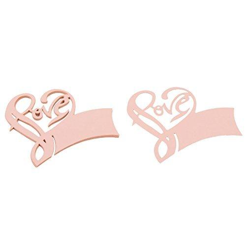 eDealMax partido decoración del favor de Amor Tabla boda de la forma de cristal nmae tarjeta lugar de vino Coral Pink 10pcs