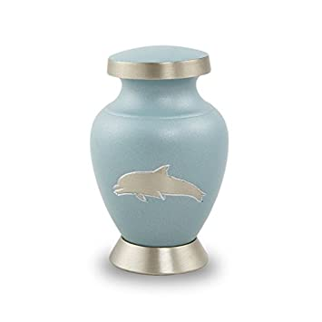 OneWorld Memorials Aria Dolphin Bronze Keepsake Urns – Extra Small – Holds Up to 5 Cubic Inches of Ashes – Sea Blue Cremation Urn for Ashes – Engraving Sold Separately