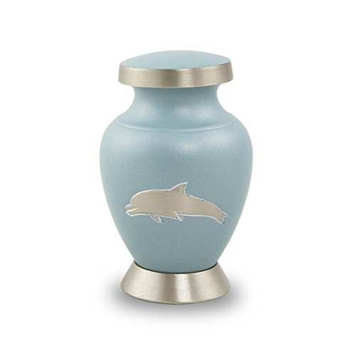 Dolphin Keepsake - OneWorld Memorials Aria Dolphin Bronze Keepsake Urns - Extra Small - Holds Up to 5 Cubic Inches of Ashes - Sea Blue Cremation Urn for Ashes - Engraving Sold Separately