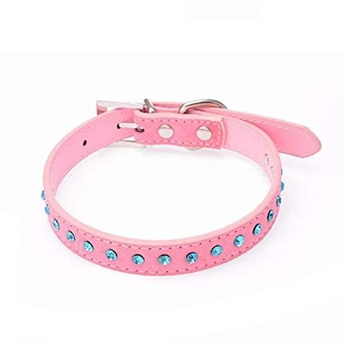 Fashbag Small Pet Dog Leather Collar Puppy Cat Blue Rhinestone Neck Strap Newest Fashional Stylish Popular Dog Leash 11Jan12 Pink M ()