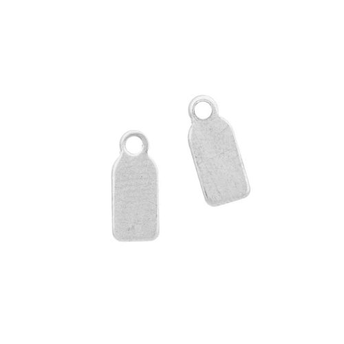 Beadaholique Sterling Silver Blank Stampings Rectangular Charms or Jewelry Tags 11.5x5mm (2)