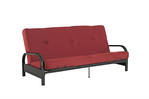 (Mainstays Black Metal Arm Futon with Full Size Mattress, Red)