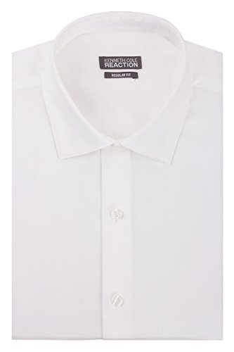 Kenneth Cole Men's Textured Regular Fit Solid Spread Collar Dress Shirt, White, 17.5