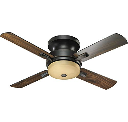 (Quorum International 65524-95 Davenport 52-Inch Hugger Ceiling Fan, Old World Finish with Amber Scavo Glass and Walnut)