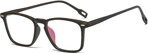 J&L Glasses Vintage Classic Full Frame Wood Grain Unisex Glasses Frame (Black Brown, - Mens Black Glasses
