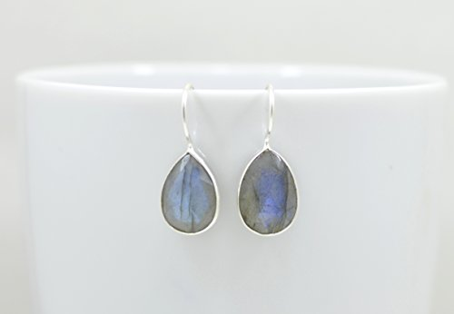 Teardrop Labradorite Earrings Silver, Pear Shaped Labradorite Earrings Sterling, Grey Stone Earrings