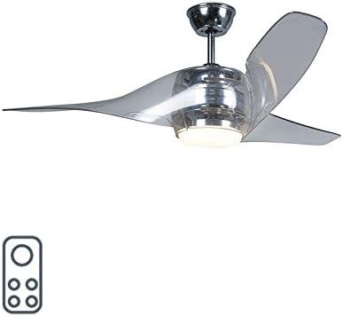 QAZQA Moderno Ventilador de techo con luz y mando a distancia cromado con LED con mando a distancia - Sirocco 50 Plástico/Metálica Redonda Incluye LED Max. 1 x 18 Watt