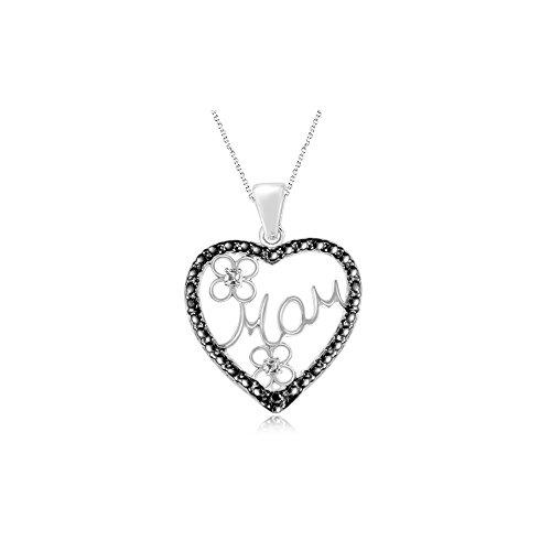Black Diamond Accent Mom Heart Pendant in Silver with Black Rhodium - Valentine's Day (Diamond Accent Mom Heart)