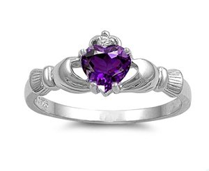 Sterling Silver Claddagh Ring with Amethyst Color CZ Heart Stone Size 4-10; Comes with Free Gift Box - Amethyst Stone Color