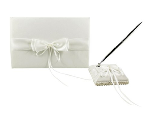 2Pcs/Set White/Ivory/Burlap Wedding Guest Book + Pen Set - Ivory Set Book Wedding