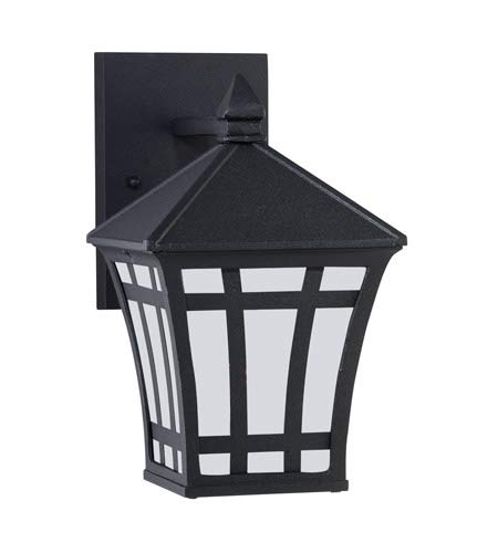 Sea Gull Lighting 89131BLE-12 Herrington - One Light Outdoor Wall Mount, Black Finish with Etched/White Glass