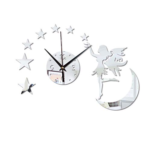 LOVEER Wall Mirror Sticker Fairy Clock Self Adhesive Removable DIY Living Room Decorative 3D Mirror Wall Clock Sticker Wall Home Decor Wall Art Mirror for Bedroom Livingroom -