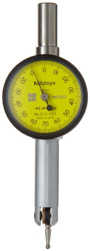 Dial Yellow Markers (Mitutoyo 513-501E Pocket Type Dial Test Indicator, Basic Set, Horizontal Type, 8mm Stem Dia., Yellow Dial, 0-70-0 Reading, 33mm Dial Dia., 0-0.14mm Range, 0.001mm Graduation, +/-0.003mm Accuracy)