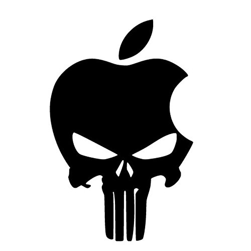 Apple Punisher Skull Logo Decal Vinyl Sticker|Cars Trucks Vans Walls Laptop| BLACK |5.5 x 3.5 in|CCI532