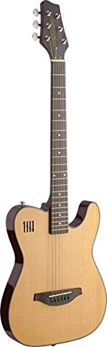 James Neligan EW3000CN Solid Body Folk Electric Guitar with Cutaway, Natural
