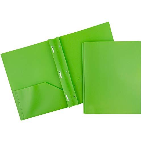 JAM PAPER Plastic 2 Pocket School POP Folders with Metal Prongs Fastener Clasps - Lime Green - 6/Pack