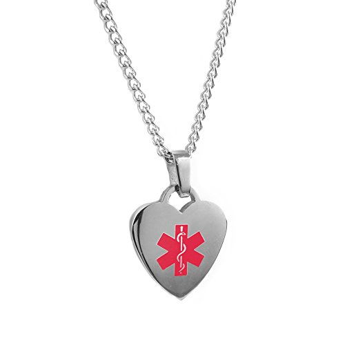My Identity Doctor Custom Engraved Medical Alert Necklace, 316L Steel - Red ()