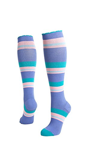 (Lily Trotters Women's Designer Athletic Compression Socks - Candy Stripes Denim (L/XL))
