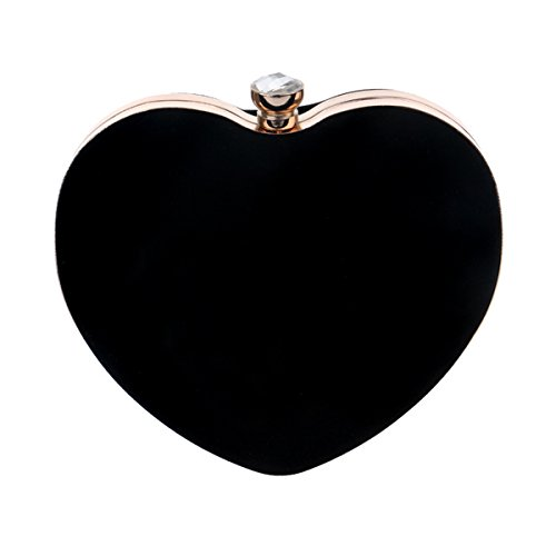 Felice Womens Girls Love Heart Shape Clutch Handbag Vintage Evening Tote Purse Luxury Party Prom Bag (Vintage Box Purses)