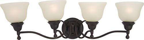(Maxim 11059SVOI Soho 4-Light Bath Vanity, Oil Rubbed Bronze Finish, Soft Vanilla Glass, MB Incandescent Incandescent Bulb , 12W Max., Dry Safety Rating, 3000K Color Temp, Opal Acrylic Shade Material, 1000 Rated Lumens)
