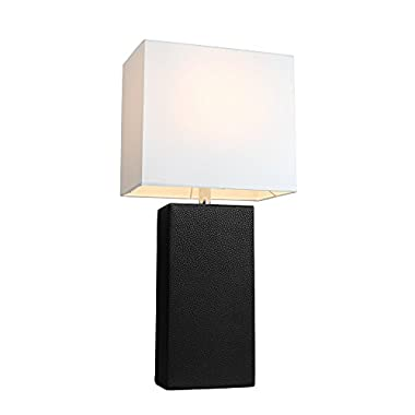 Elegant Designs LT1025-BLK Modern Genuine Leather Table Lamp, Black