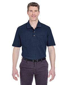 (UltraClub Men's Classic Pique Polo Shirt with Pocket,  Large - Navy)