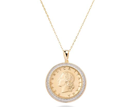 "MiaBella 18K Gold Over 925 Sterling Silver Diamond Accent Genuine Italian 20 Lira Coin Pendant Necklace for Women 18"" Chain"