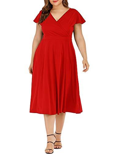 Women's Plus Size Flutter Sleeve Dress Deep V Neck A-Line Swing Midi Dresses Red XL