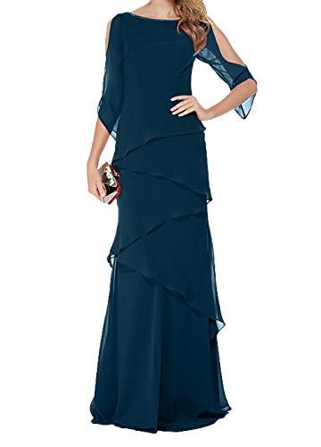 Brautmutterkleider Charmant Damen Festlichkleider Abendkleider Langes Dunkel Chiffon Blau Partykleider Ballkleider wqtPr40qnd