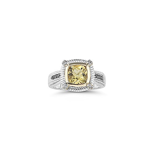 0.12 Ct Diamond & 1.15-1.40 Cts AAA Yellow Beryl Ring in 14K Gold & Silver-7.0