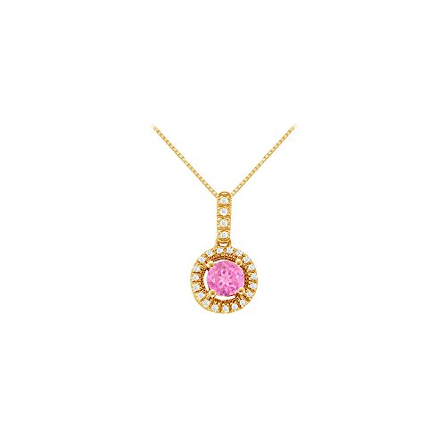 Pink Sapphire Vermeil Necklace (Fancy Round Created Pink Sapphire and Cubic Zirconia Halo Pendant in 14K Yellow Gold Vermeil)