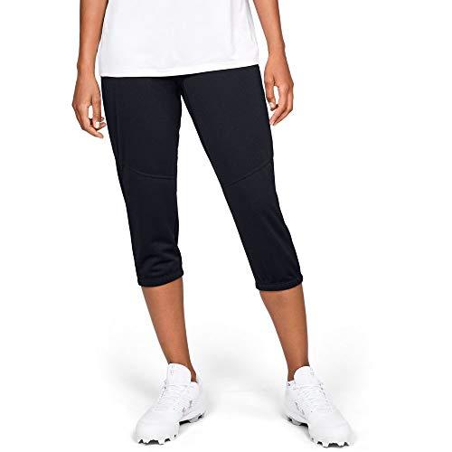 Under Armour Women's Softball Cropped Pant, Black (001)/Baseball Gray, Large