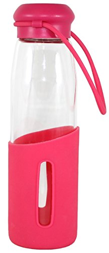 Gourmet Home Products Glass Water Bottle with Half Silicone Sleeve, 16 oz, Hot Pink