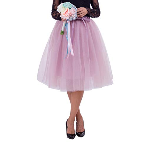 Joeoy Women's A Line Knee Length 6 Layered Bowknot Tutu Tulle Skirt Prom Party Skirt (Dusty Pink)]()