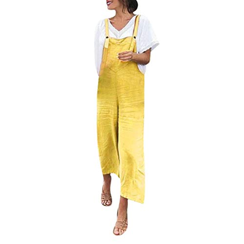 (Aniywn Women's Baggy Plus Size Cotton Linen Jumpsuits Overalls Wide Leg Loose Pants Casual Rompers Yellow)