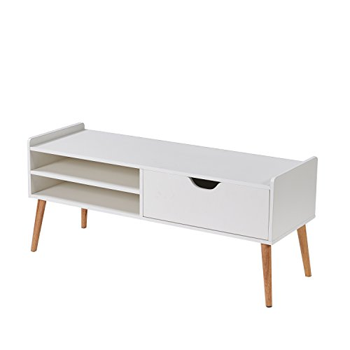 LSCUKOO Coffee Table Cabinet Storage with Drawer White Sets (Style 4) by LSCUKOO