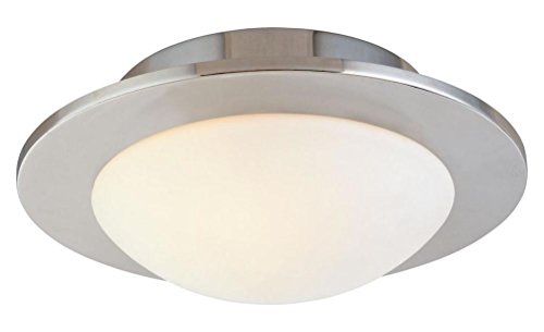 Polished Nickel Discus - Three Light Nickel Bowl Semi-Flush Mount