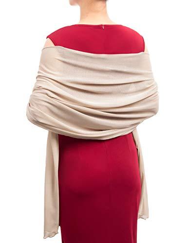 Women Lightweight Dress Shawls Pashminas Shiny Wraps Scarf Blanket Apricot